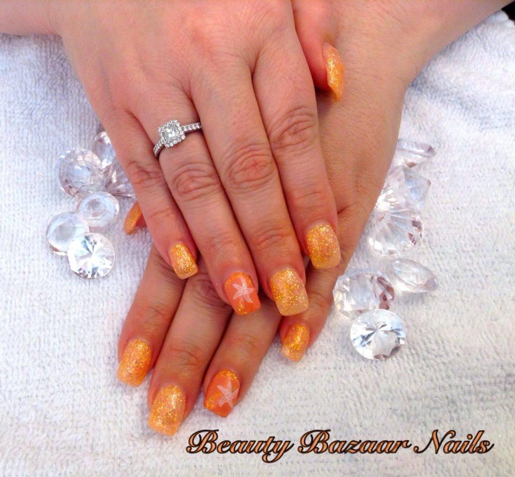 Catching Fire Fuzion Gel Nails With Starfish <3 By Beauty Bazaar ...