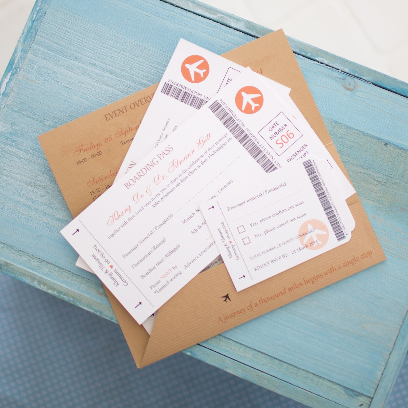 Kraft Orange Airline Travel Ticket Wedding Invitation - Vintage ...