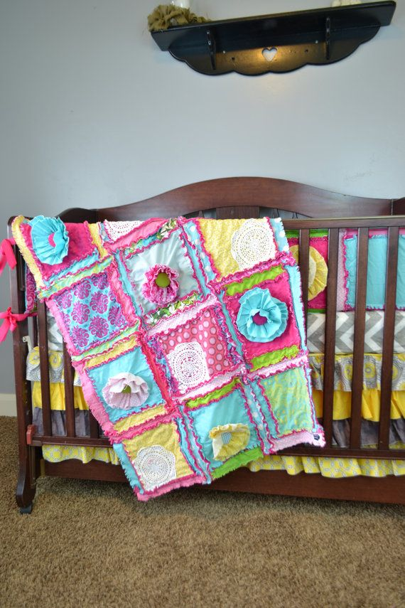 Pink Girls Bedding Baby Rag Quilt