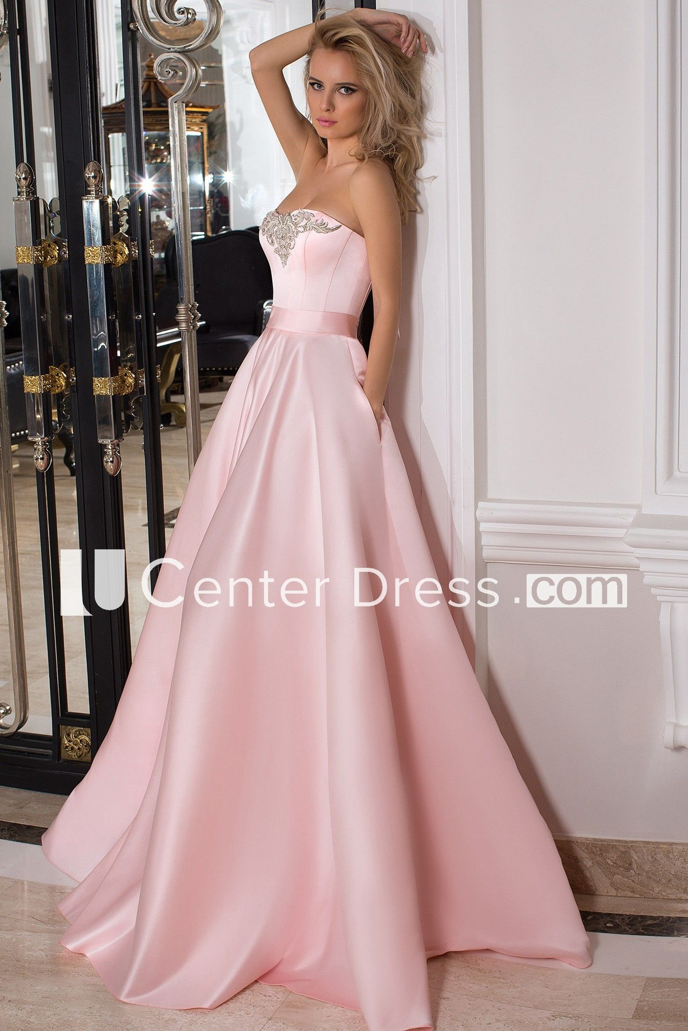 Strapless Maxi Beaded Satin Prom Dress With Ribbon | Vestidos de ...