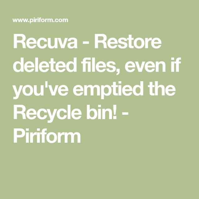 Recuva Professional | myne | Recovery tools, Filing