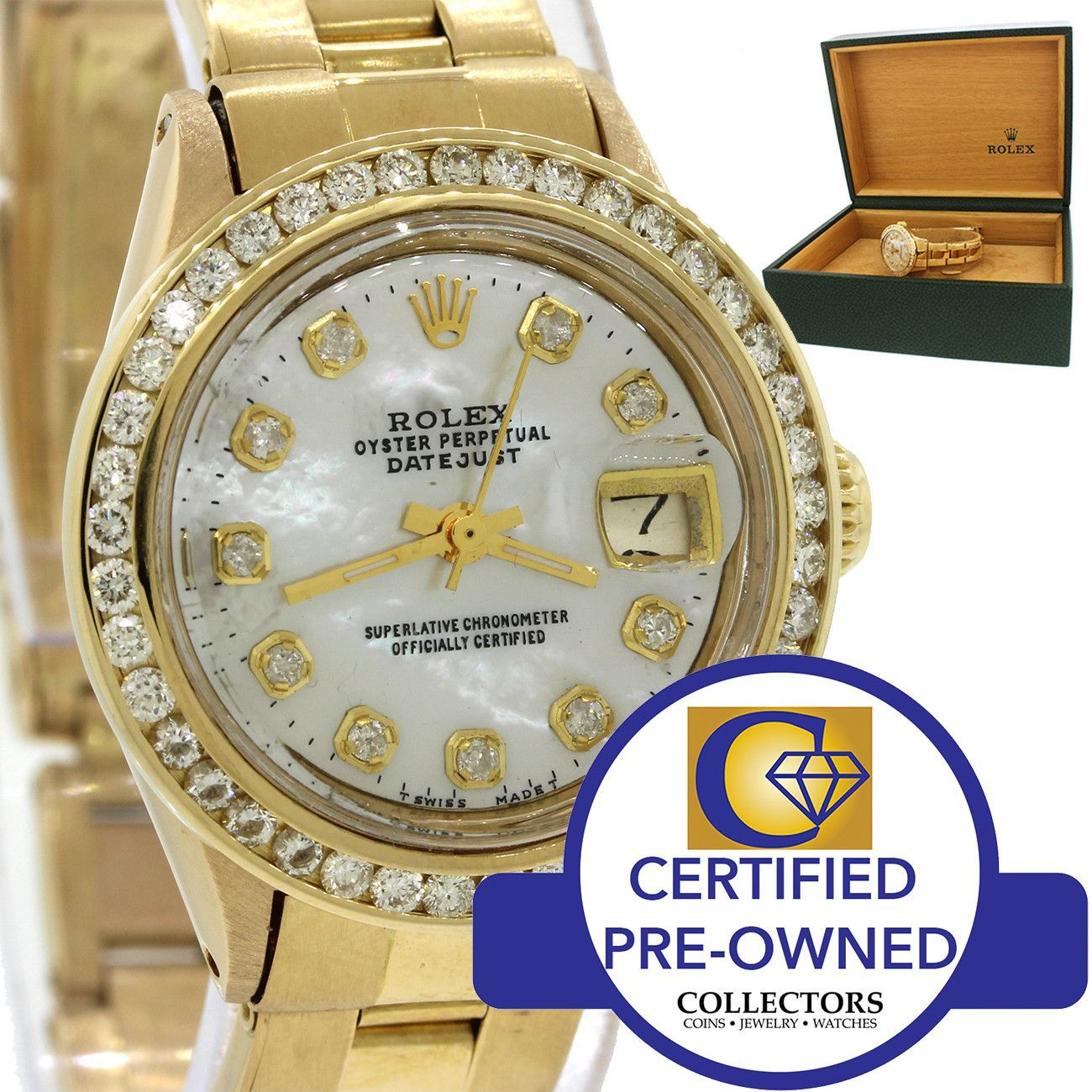 Vintage Ladies Rolex DateJust 6517 18k Yellow Gold Diamond MOP Watch w/Box