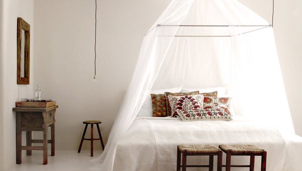 Bed moskito net and furniture examples. Design Hotels™ 7for5 Promotion at San Giorgio Mykonos, Mykonos, Greece