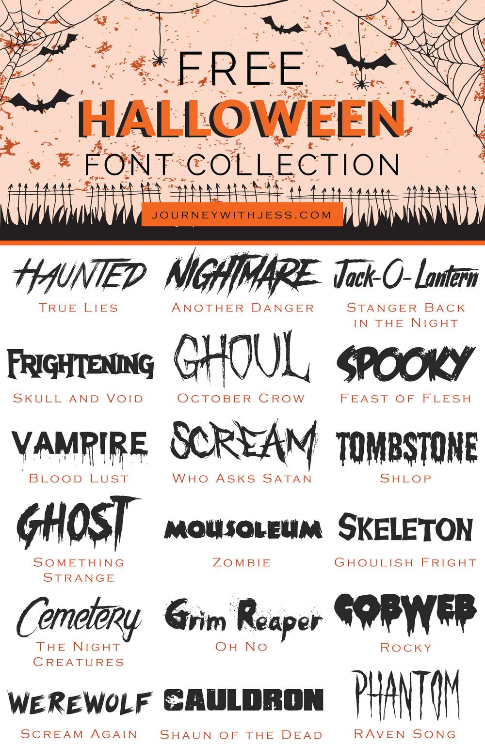 2020 Halloween Font Free Font Collection: Halloween Fonts — Journey With Jess