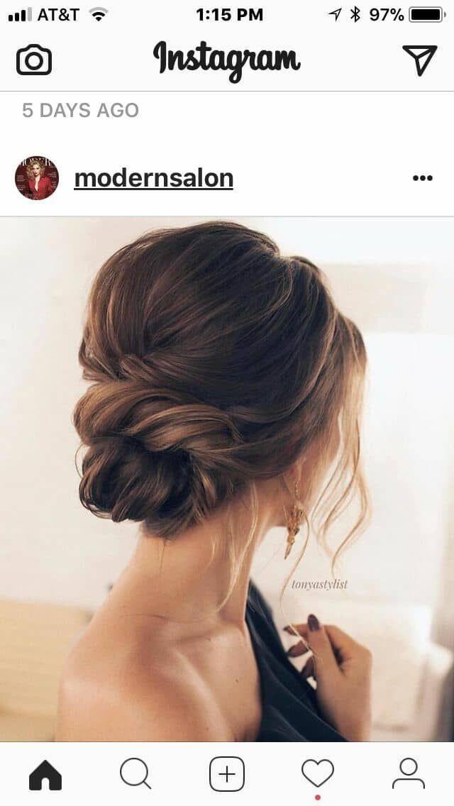 Hochzeitsgast Haar auf #upstyle # Frisur # Brautjungfern # Brautjungfer #Lowbun ... - Pinspace #weddingguestdress