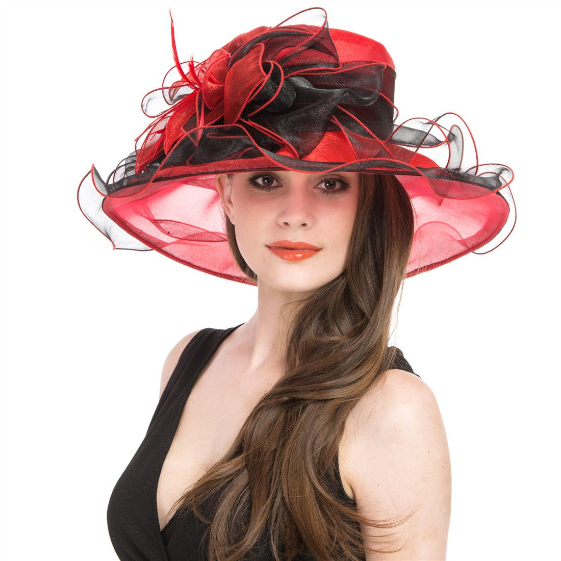1be5614697e3 Saferin Women's Organza Church Derby Fascinator Bridal Cap British Tea  Party Wedding Hat Black and red Two Tone color