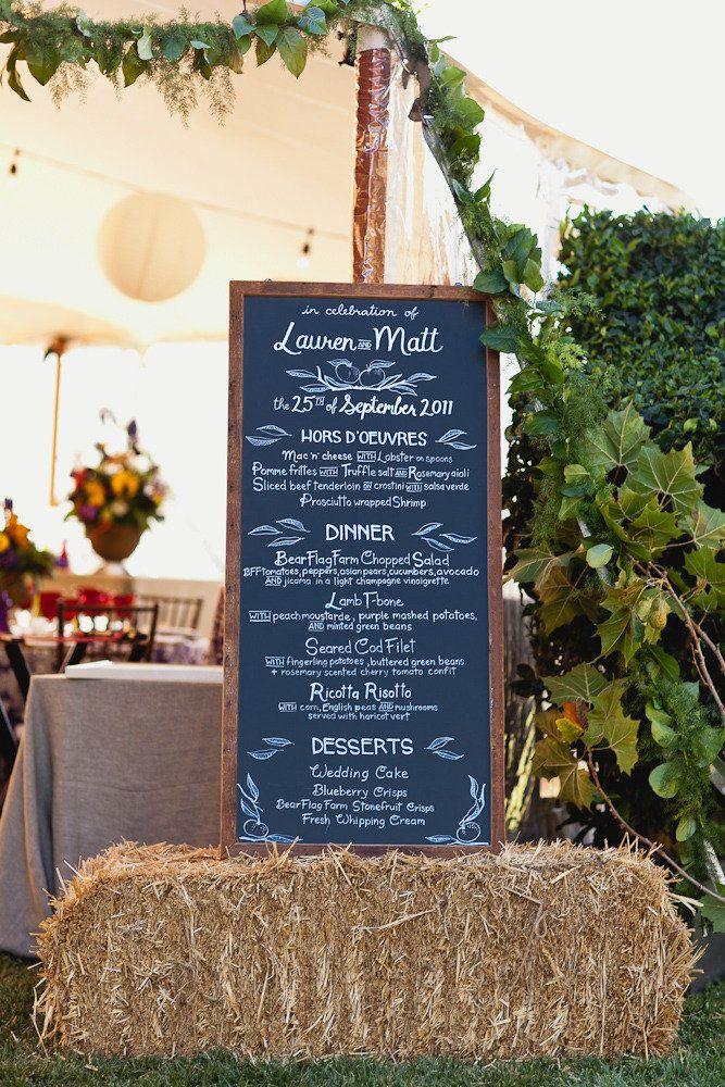 #chalkboard, #menus, #hay  Photography: Jennifer Skog Photographers - jenniferskog.com Event Planning, Floral + Event Design: Bear Flag Farm - bearflagfarm.com  Read More: http://www.stylemepretty.com/california-weddings/2012/05/01/winters-wedding-at-bear-flag-farm-by-jennifer-skog-photographers/