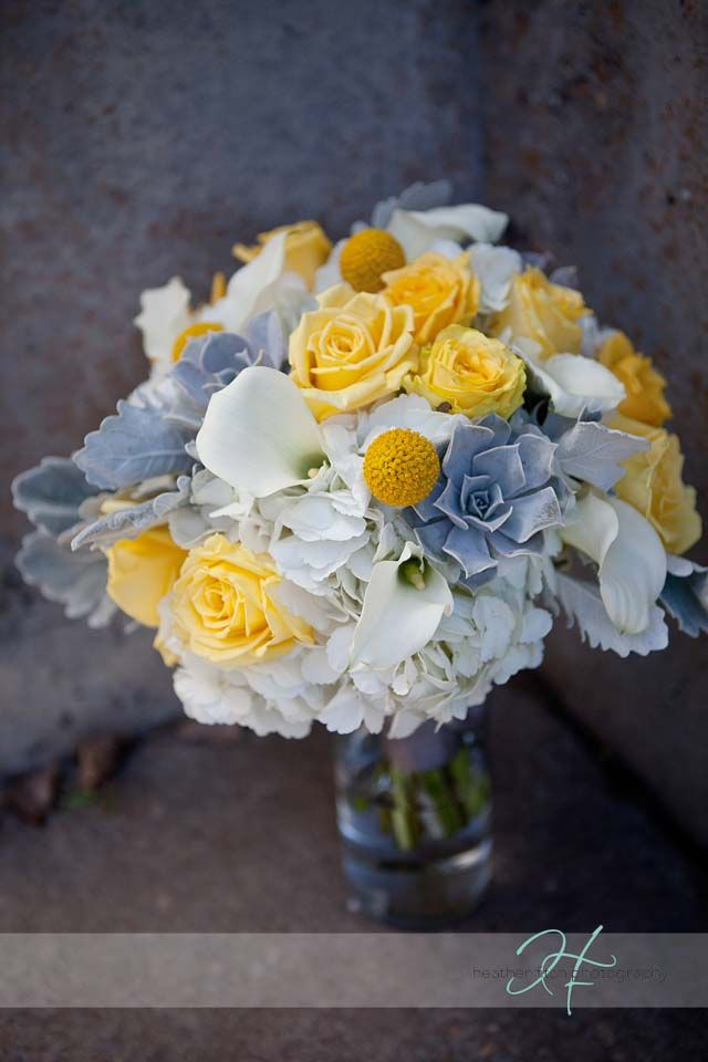 Gray And Yellow Wedding Bouquet Flowers Wedding Flower Bouquet