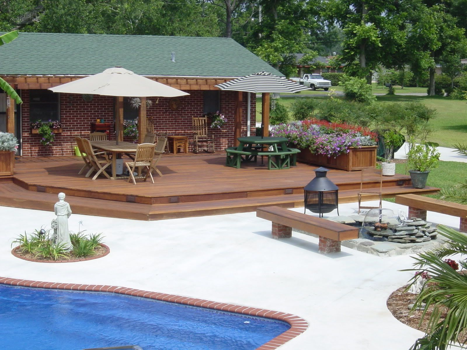 Cabana Pool Paver Patio Under Romanesque Style Open Cabana Adjacent