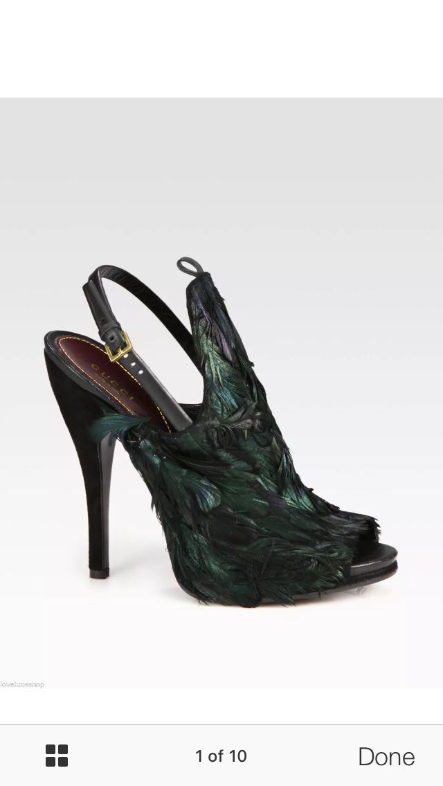 Gucci feather heels   Slingback, Shoes
