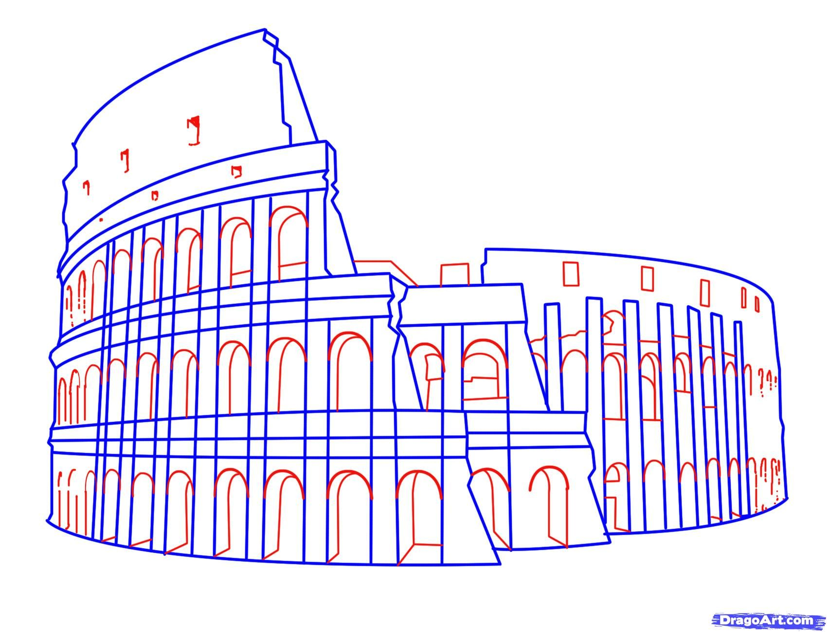 How To Draw The Colosseum Step 6