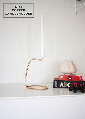 Great DIY copper candle holder