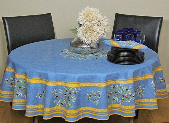 High Quality 70 Inches Round Tablecloth Provence Coated Olives In Blue   Umbrella Hole  And Napkins Available