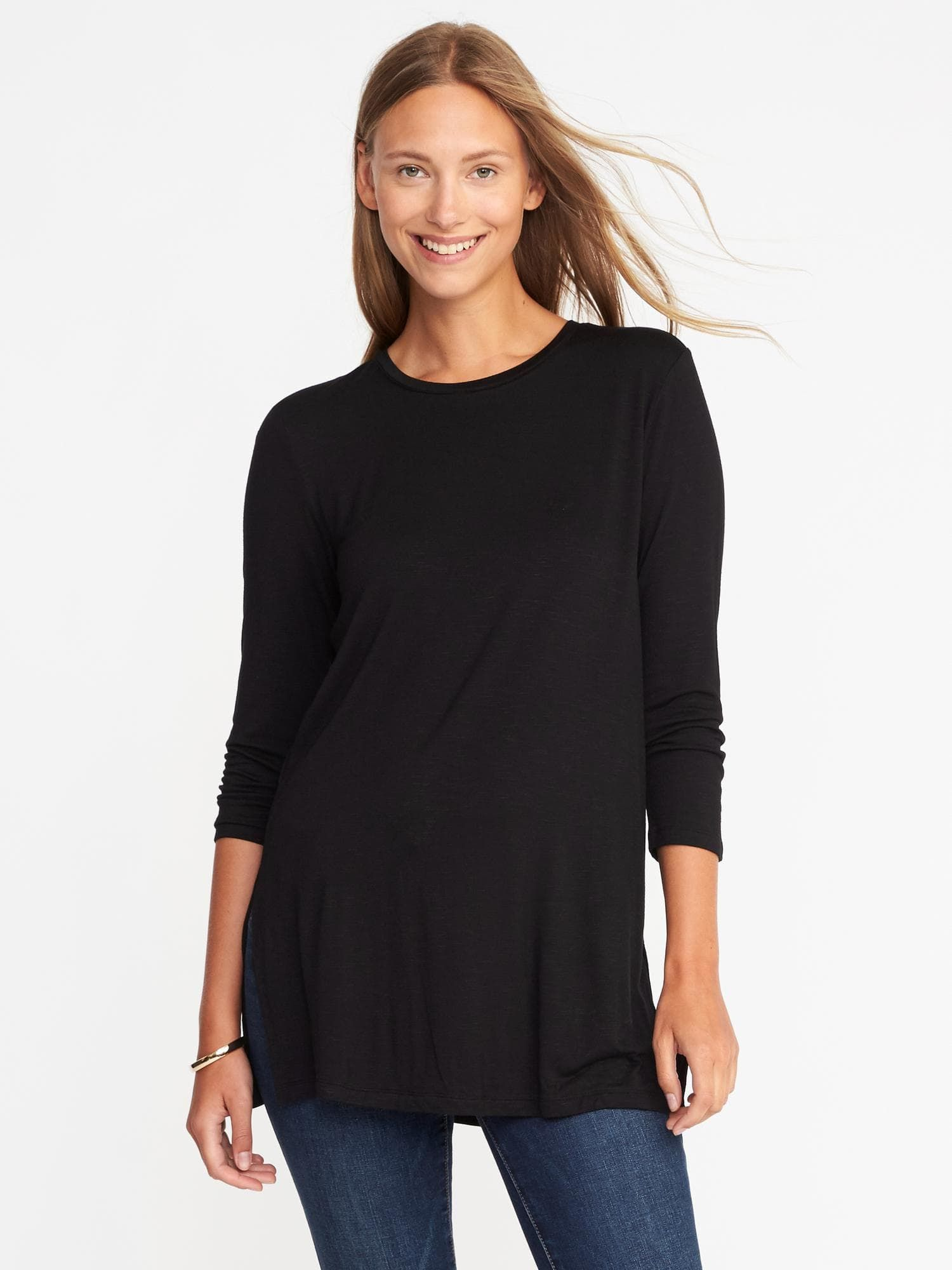 8720721128c140 Long   Lean Luxe Crew-Neck Tunic for Women