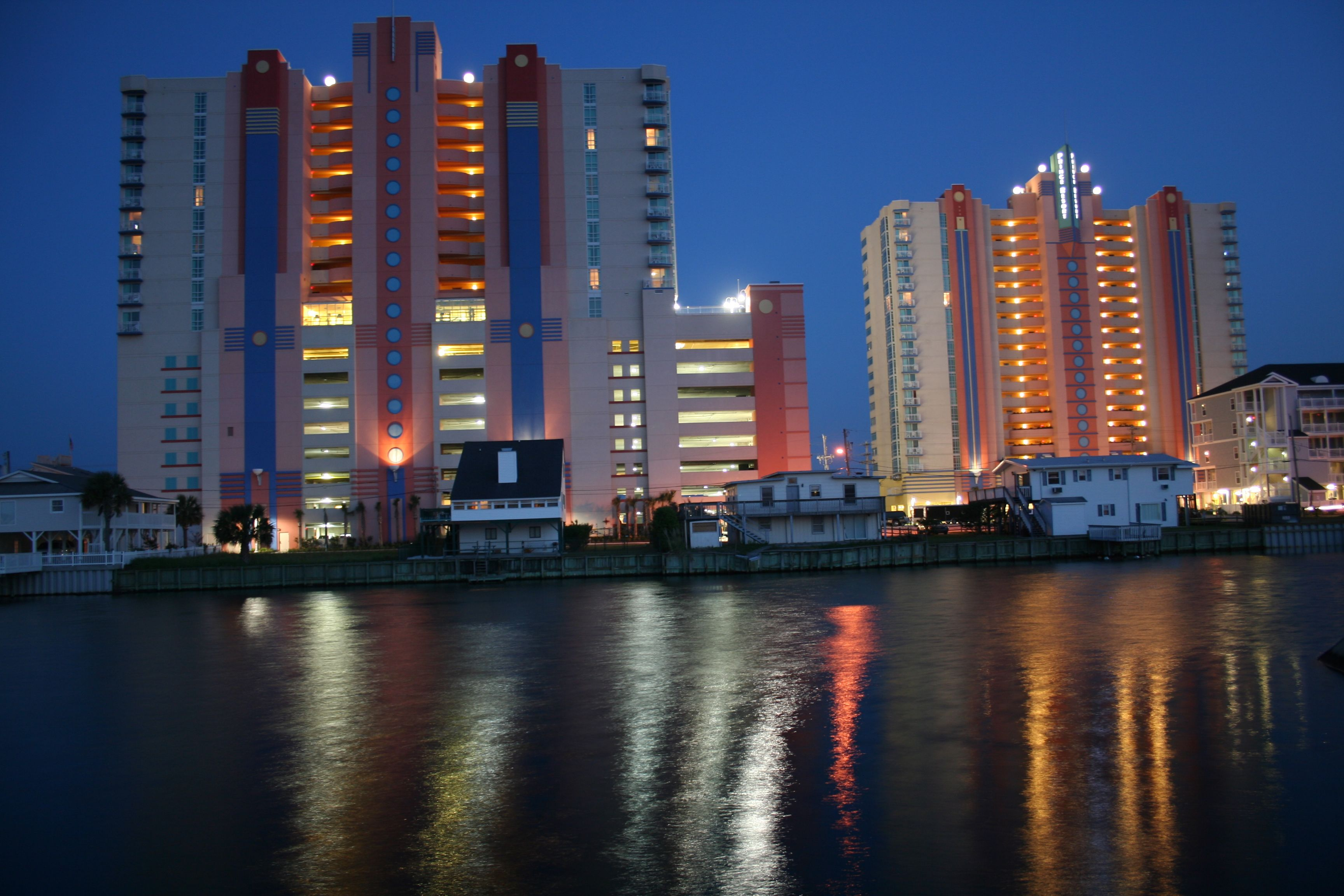 A Nighttime View Of The Prince Resort At Cherry Grove Pier In North Myrtle Beach South Carolina