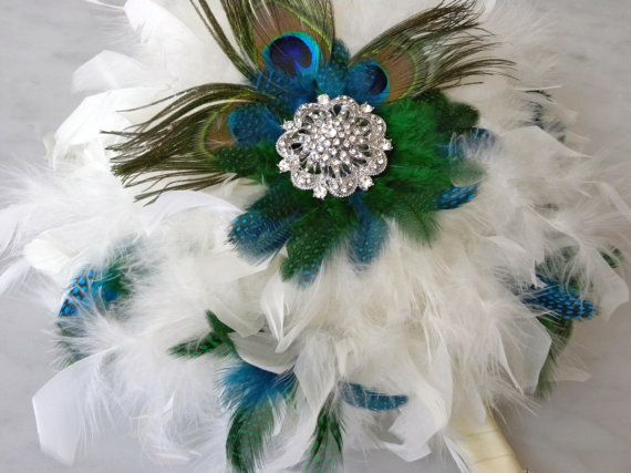 Peacock Feather Bouquet By Chloeanndesigns On Etsy 85 00
