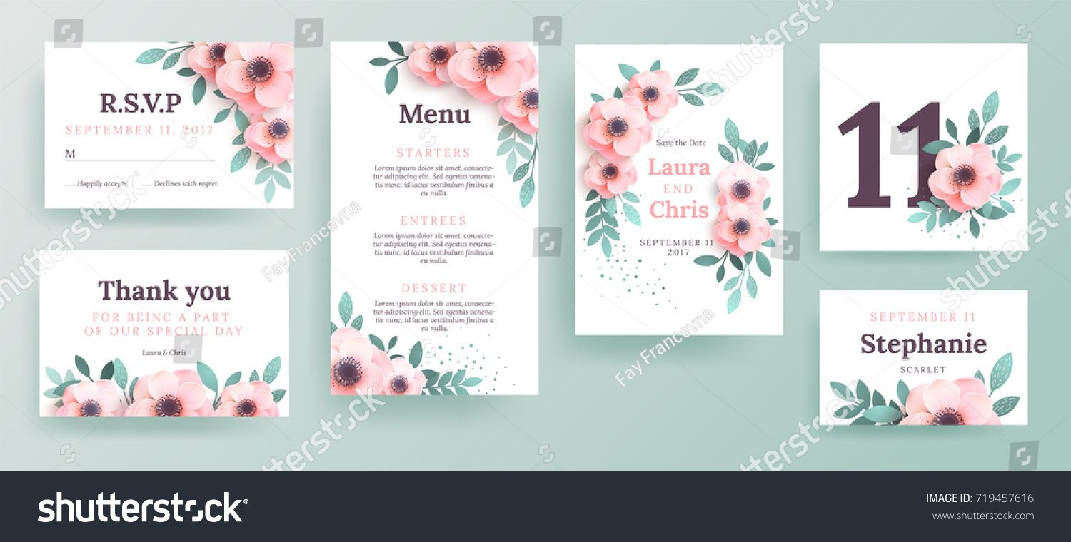 A set of invitations for a wedding with pink flowers design a cover
