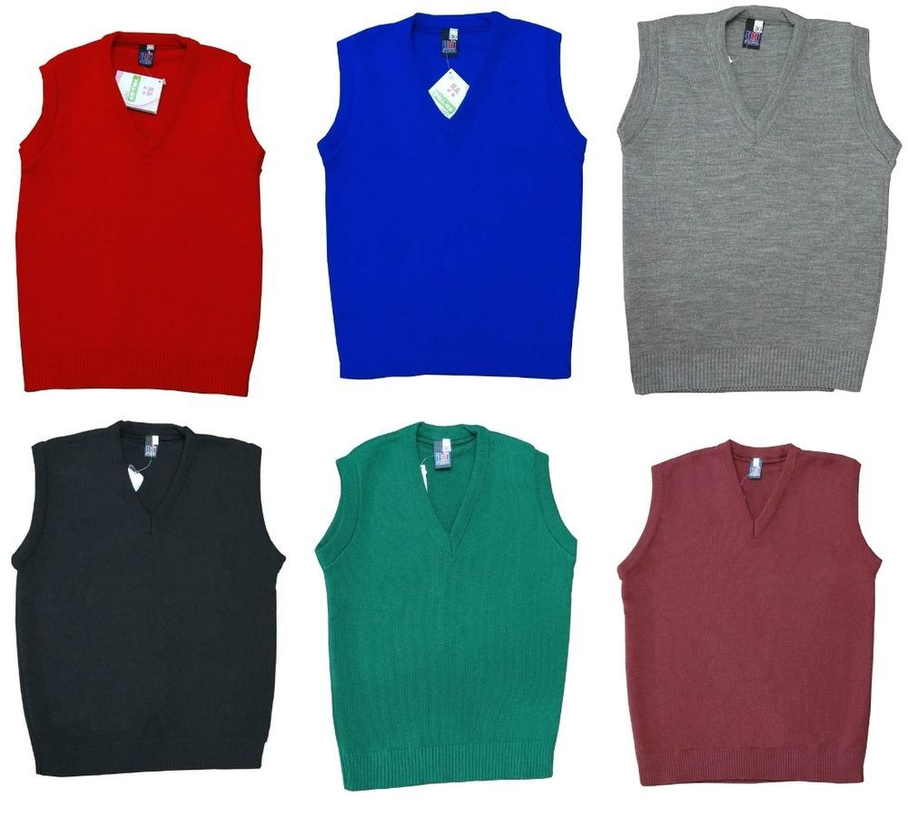 School Uniform V Neck Tank Top Kids Knitted Sleeveless Jumper Schoolwear Top UK