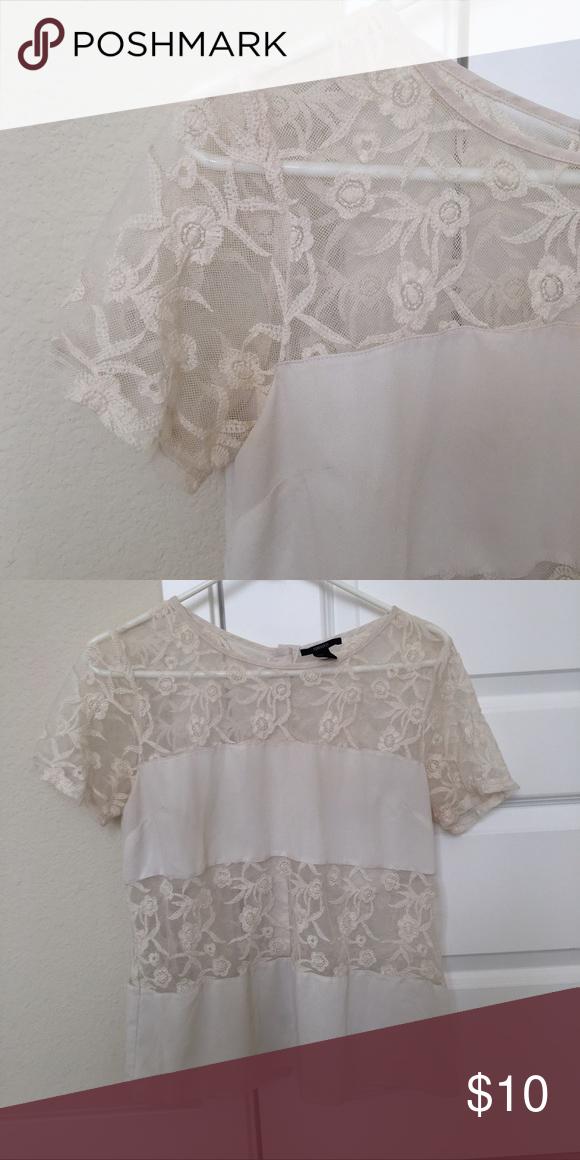 Cream white lace blouse, M Cream white lace blouse, M; beautiful button back detail Tops