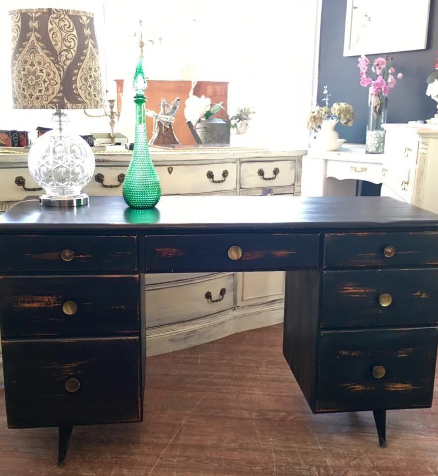 804. Mid Century Modern Desk Painted Black & Distressed