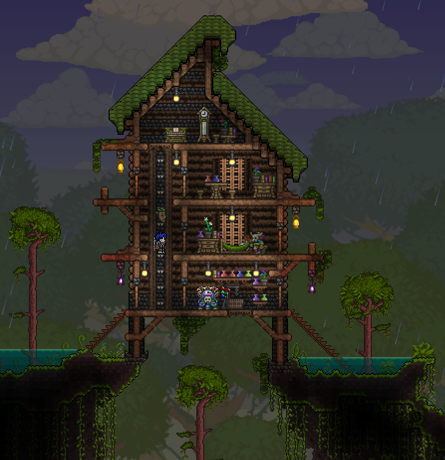 Terrarium Terraria House Design: I've Quickly Built A Jungle House. What Do You Think