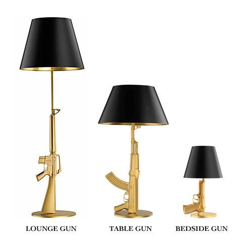 Philippe Stark Gold Plated Gun Lamps