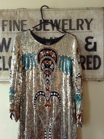 Vintage sequin dress long sleeve Silver Blue by Riverstonevintage, $250.00