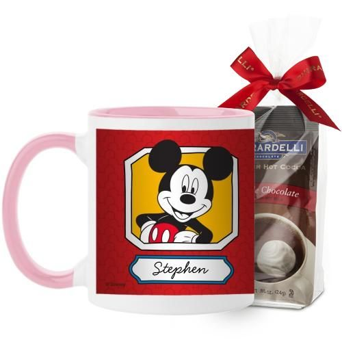 Disney Mickey And Friends Mug, Pink, with Ghirardelli Premium Hot Cocoa, 11 oz, Red