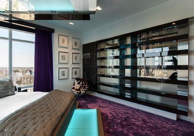 Luxus Schlafzimmer Violett Samt Teppich Fensterfront