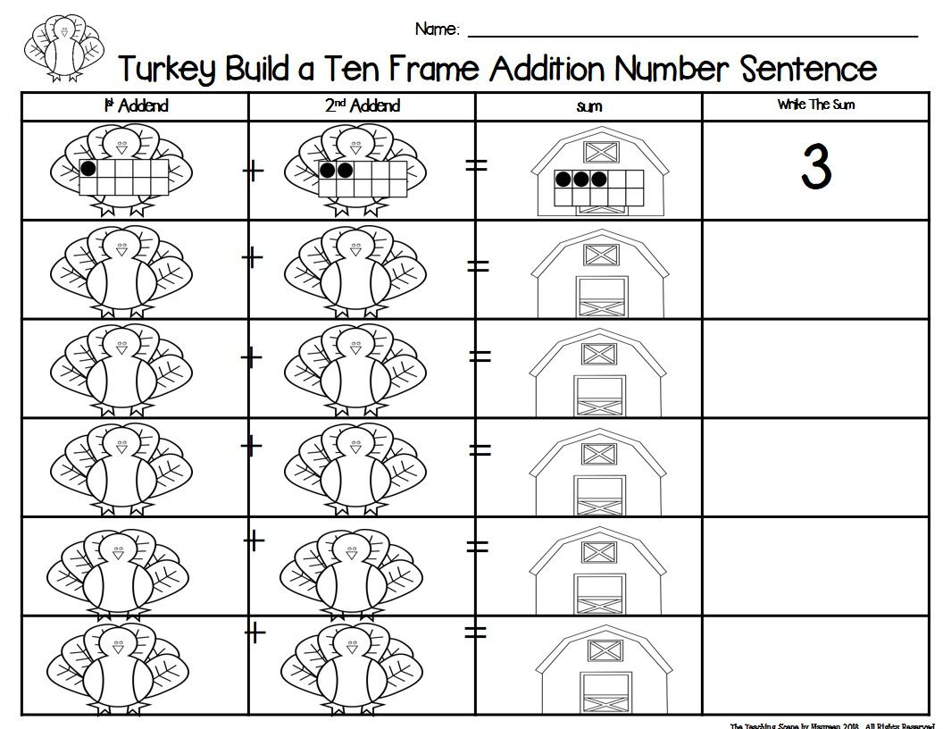 Turkey 2 Addend Addition Amp Subtraction With Ten Frames