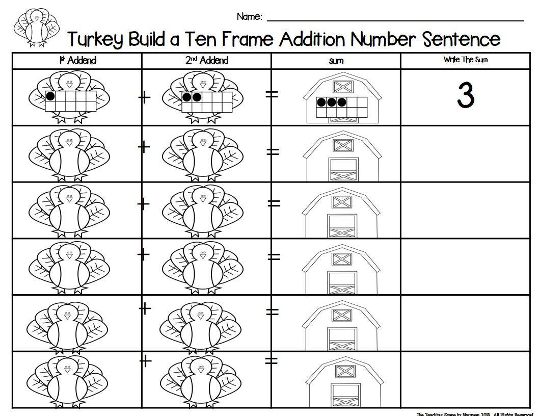 Turkey 2 Addend Addition Amp Subtraction With Ten Frames