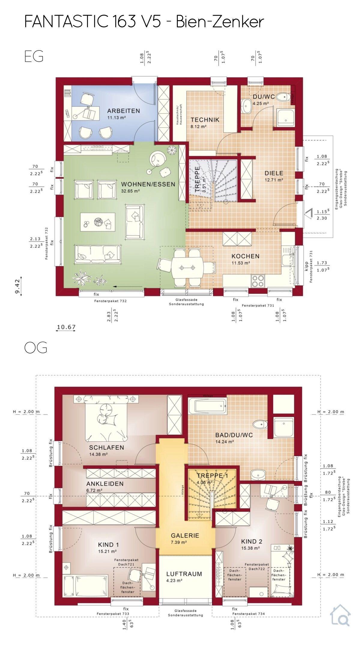 Grundriss Einfamilienhaus mit Galerie & Satteldach