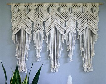 macrame wall hanging natural white cotton rope on 18 wooden dowel w beads boho home. Black Bedroom Furniture Sets. Home Design Ideas