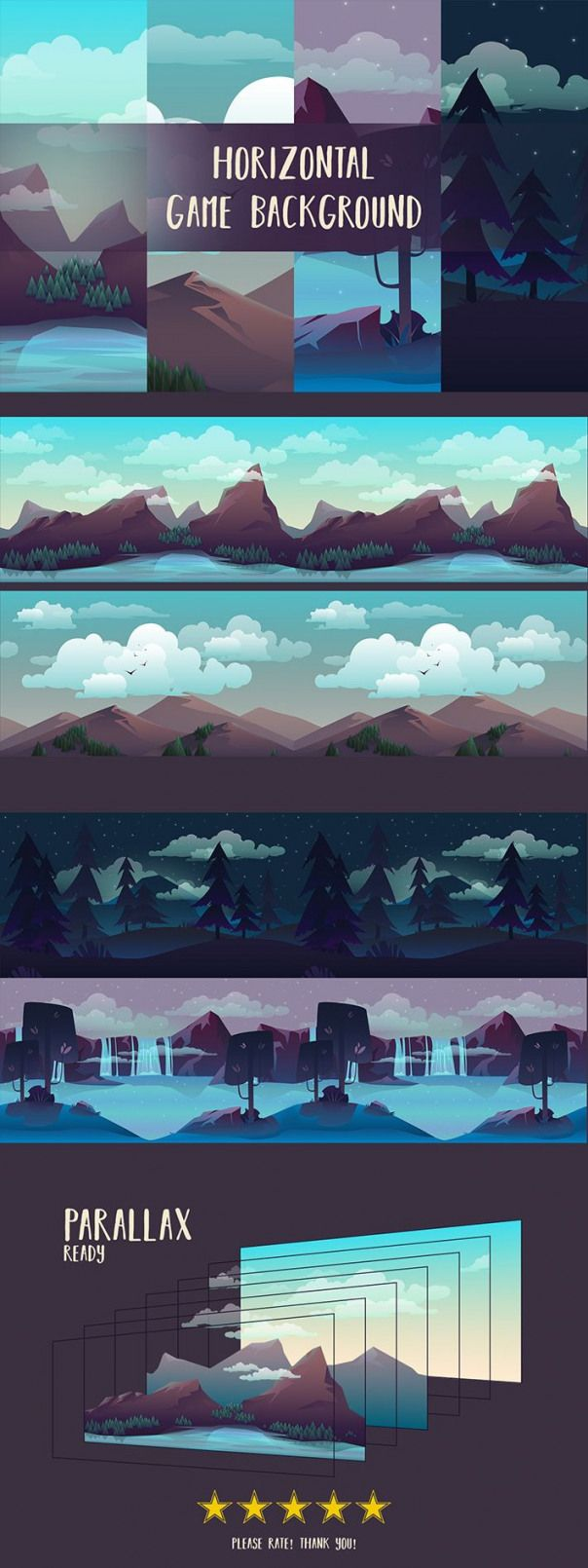 Here is a set of highquality Free Horizontal 2D Game Backgrounds