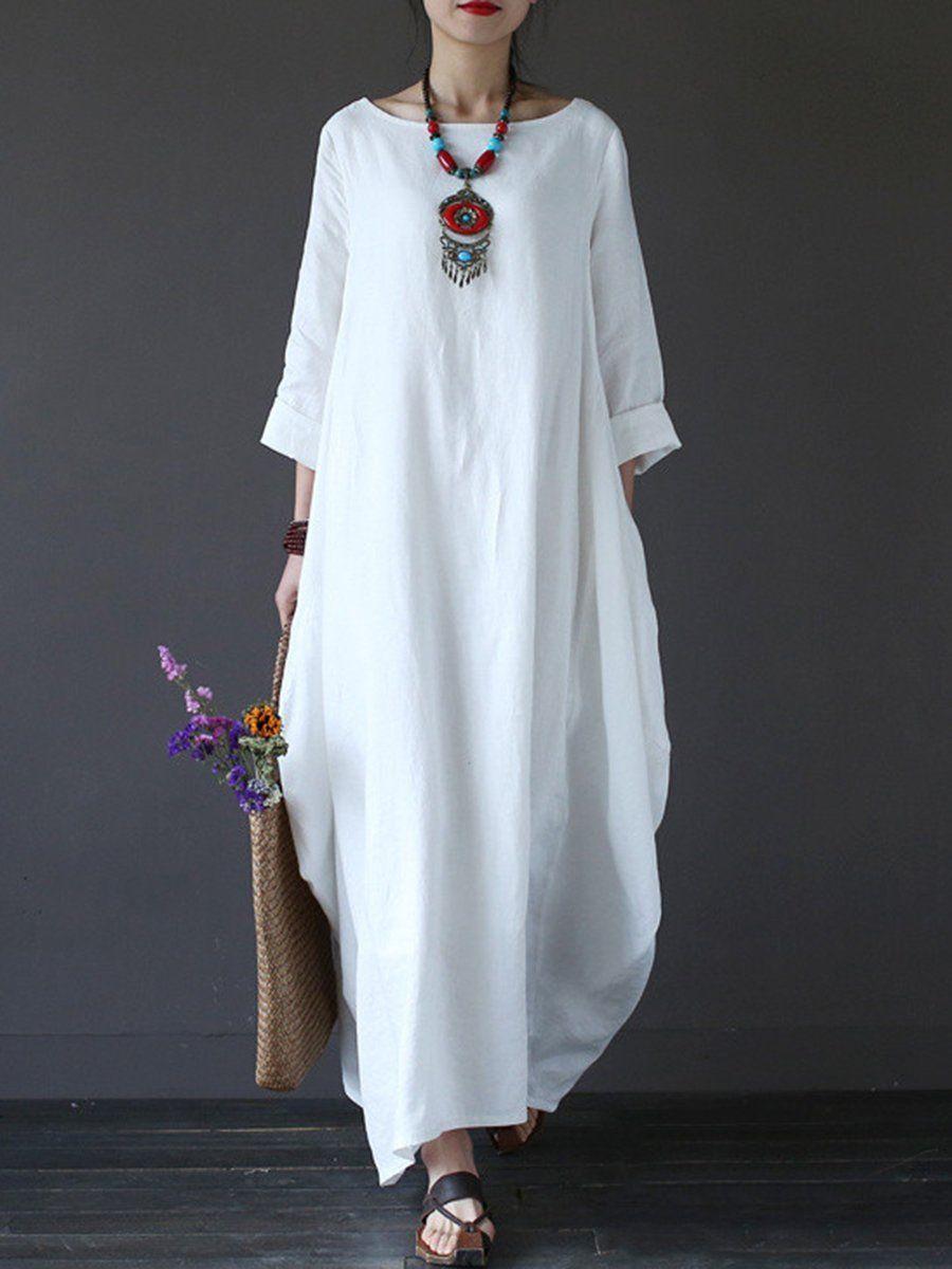 3a52436b9b8d Round Neck Pocket Plain Maxi Dress – hellocloth