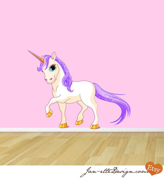 Purple Princess Unicorn Fabric Wall Decal by JanetteDesign on Etsy, $60.00