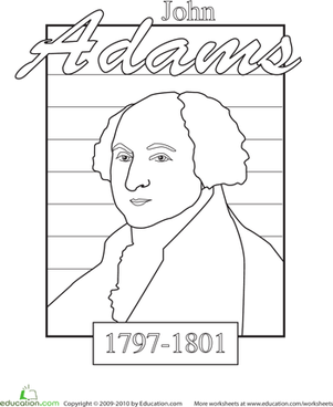 Color a U.S. President: John Adams | Kindergarten, Symbols and ...