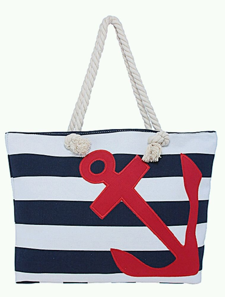 0edd86b26 NEW Large Canvas Tote Bag Anchor Design Blue White Stripe Blue Anchor Purse  #Anchor #Tote #nautical #purse #canvas