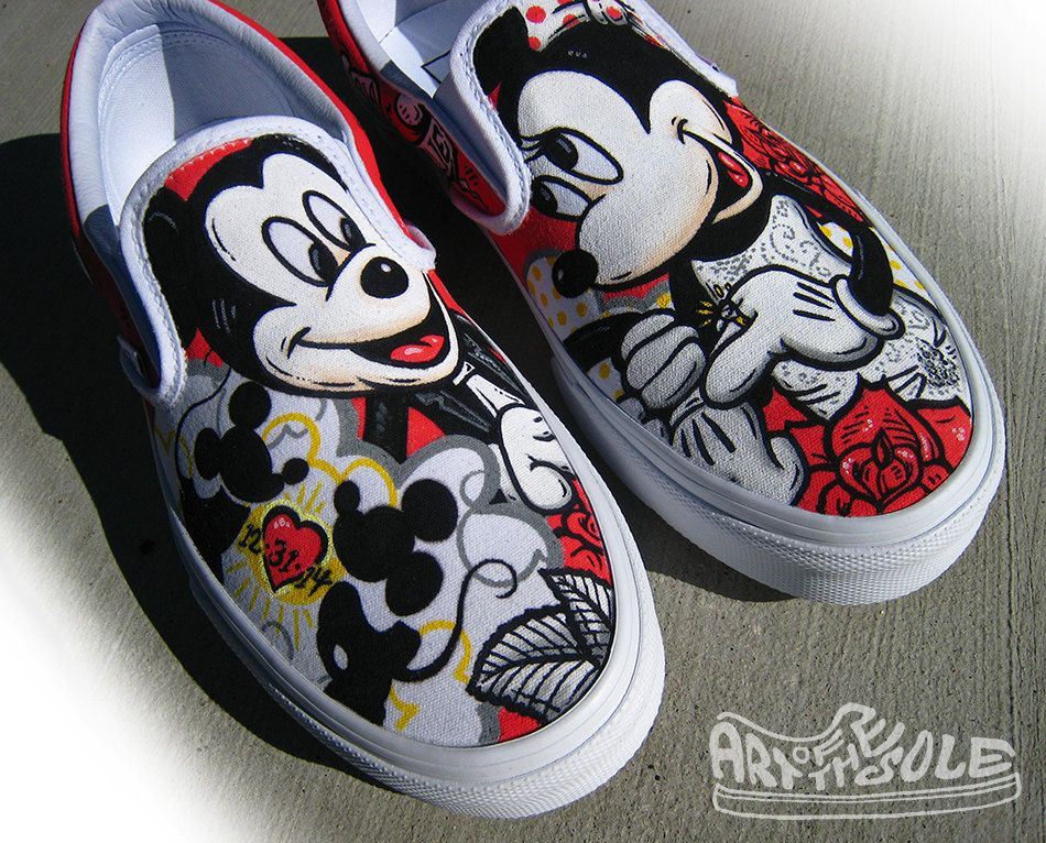 Custom hand painted disney themed wedding shoes by