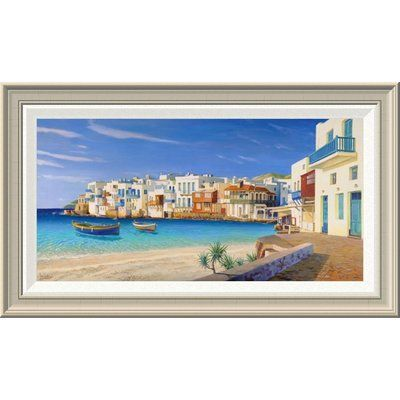 """Global Gallery 'Mykonos' by Adriano Galasso Framed Painting Print Size: 16"""" H x 28"""" W x 1.5"""" D"""