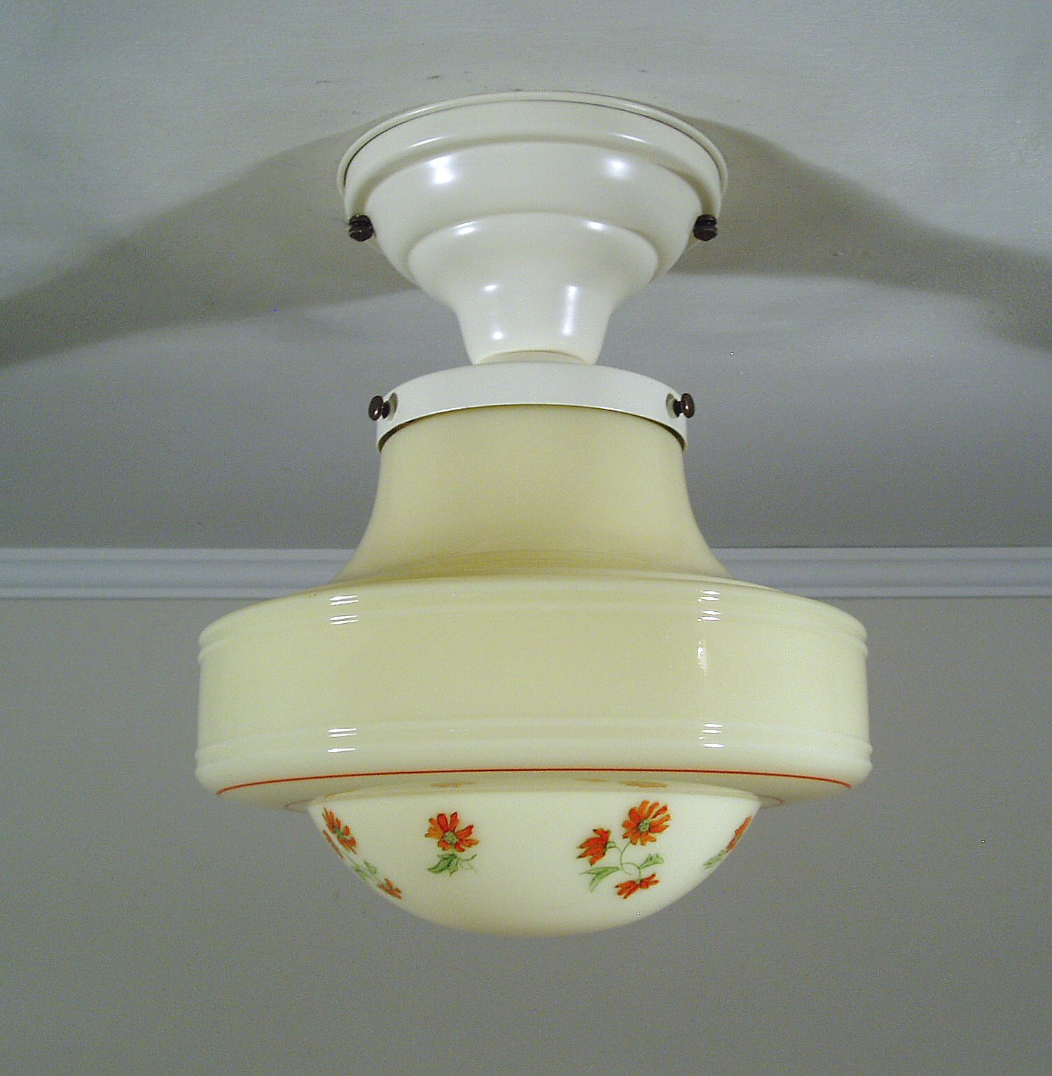 S Vintage Art Deco Custard Glass Kitchen Ceiling Light Fixture Red - Ebay kitchen ceiling lights