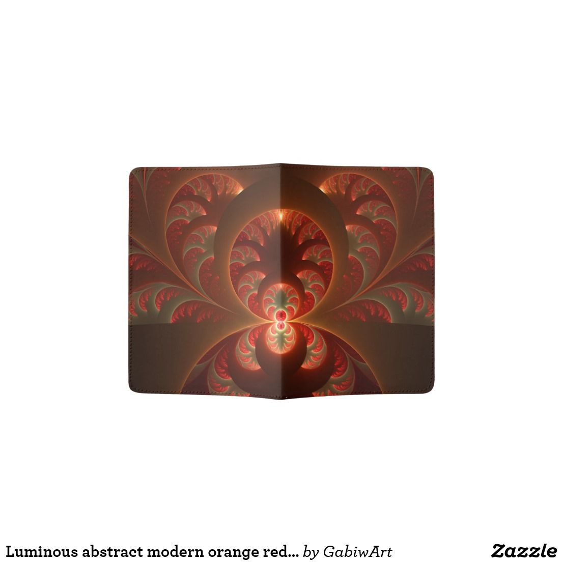 Badematte Modern Luminous Abstract Modern Orange Red Fractal Passport Holder