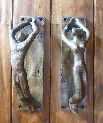 balinese brass male female nude torso door handles antique