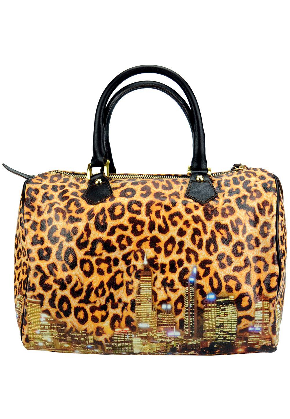 Giulia Italian Genuine Leather Medium Handmade Handbag in Leopard with City Scape