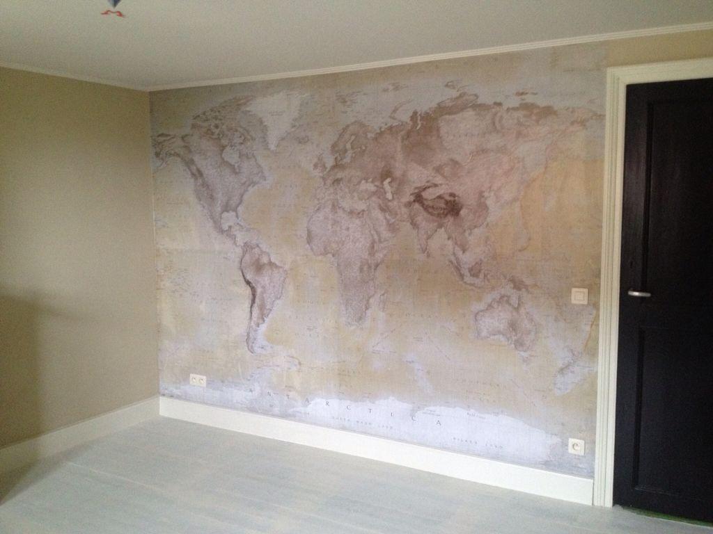 Old World Map Mural Travel Themed Boys Bedroom Indiana Jones Oude Wereldkaart Behang