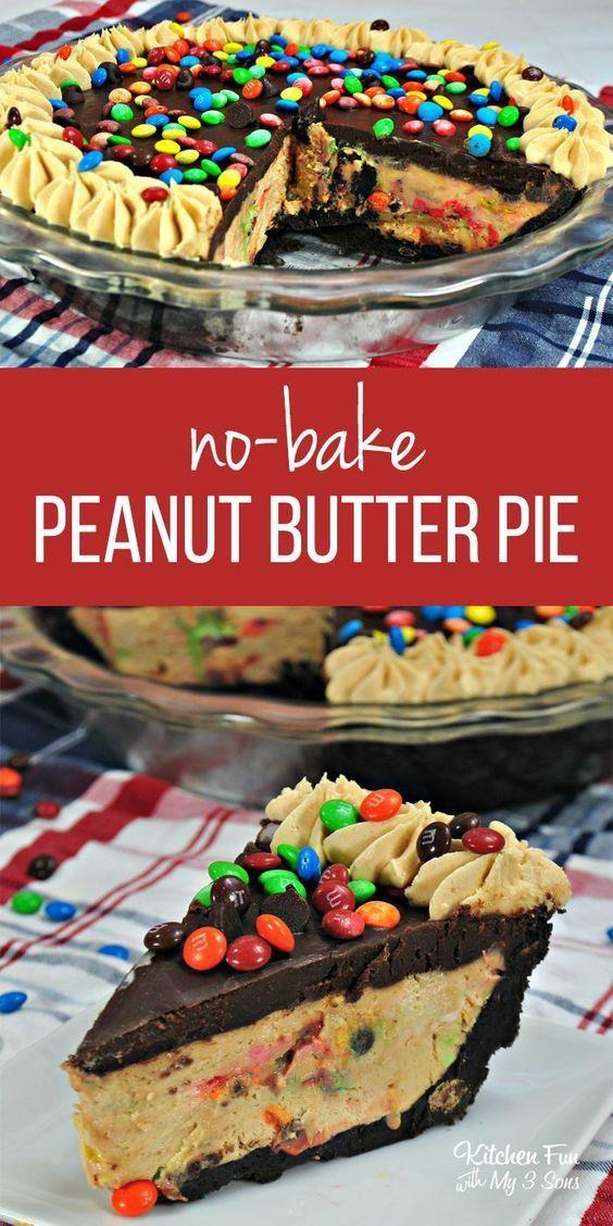 No-Bake M&M Chocolate Peanut Butter Pie