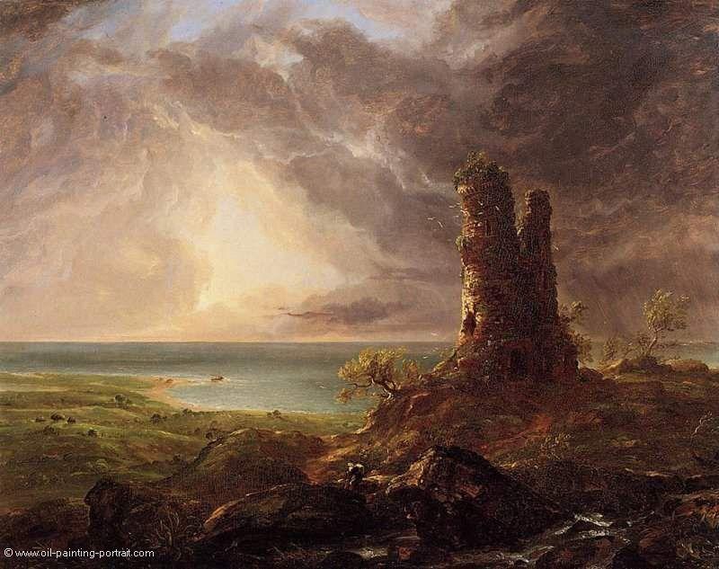 Cole Thomas Romantische Landschaft Mit Turmruine Romantik Das Gemalde Romantische Landschaft Mit Turmrui Romantische Gemalde Landschaftsmalerei Idee Farbe
