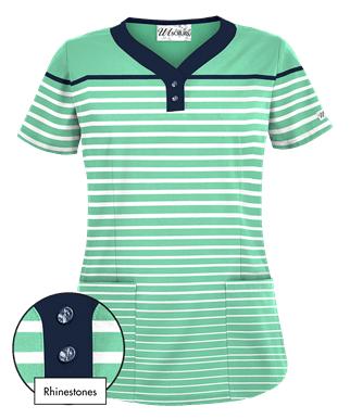 38f4a0bfc82 UA Sassy Stripes Amazon Print Scrub Top Style # UA897SYA #uniformadvantage  #uascrubs #adayinscrubs #scrubs #printscrubs #scrubtop