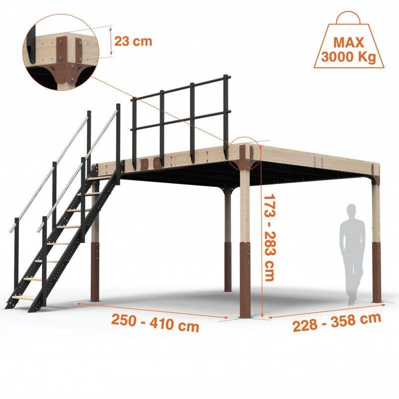 Altillo completo de madera tw15 el altillo tw15 completo for Escalera de madera al aire libre precio