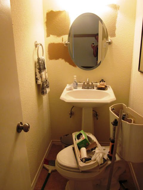 Mirrors For Pedestal Sinks   ... Painted It White Installed Your Basic Lowe  S